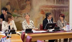 De gauche à droite, Mmes Isabelle Debré et Claire-Lise Campion, rapporteures, M. David Assouline, président de la commission pour le contrôle de l'application des lois, et Mme Annie David, présidente de la commission des affaires sociales